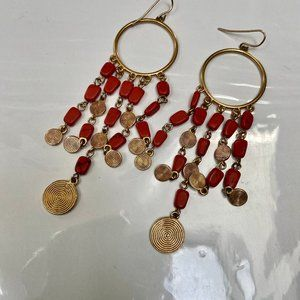 Coral Colored Stones and Gold Disk Dangle Earrings